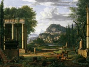 Landschap met klassieke ruïnes langs een rivier