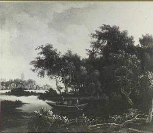 Rivierlandschap met roeiboot