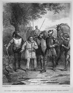 Een Fries openbaart aan graaf Floris V waar zich het lijk van koning Willem bevindt