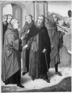 Afscheid van de H.  Antonius Abt. In de achtergrond zijn begrafenis