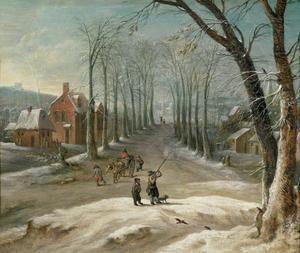 Winterlandschap met vogeljagers