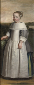 Portret van een meisje, ten voeten uit staande in een landschap met een druiventros in de hand