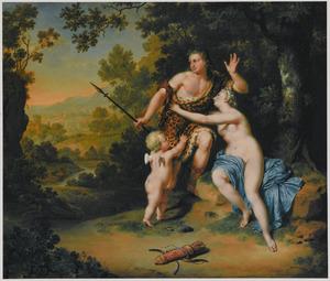 Venus tracht Adonis te weerhouden ter jacht tegaan