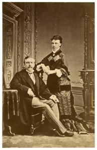 Portret van Johannes Kramps (1840-?) en Virginia Claus (1848-?)