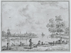 Ontwerp voor een behangsel met een rivierlandschap met figuren