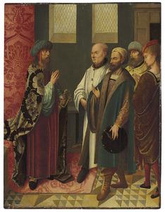 De Wijzen bij koning Herodes (op de buitenzijde: resten van een grisaille voorstellende de H. Augustinus)