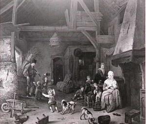 Boerenfamilie in interieur