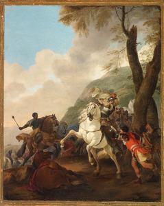 Zuidelijk landschap met ruitergevecht (uit de klassieke geschiedenis of literatuur?)
