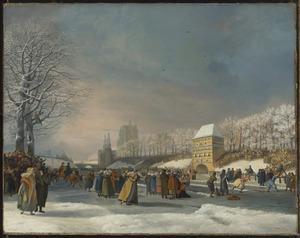 De schaatswedstrijd voor vrouwen op de Stadsgracht van Leeuwarden op 21 januari 1809