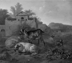 Schapen en geit met musicerende herders in een landschap