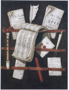 Trompe-l'oeil brievenbord met kranten, muziekboek, schrijfgerei en een blokfluit