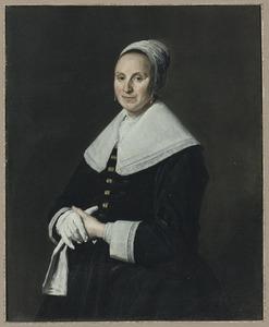 Portret van een onbekende vrouw met handschoenen