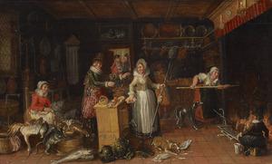 Keukeninterieur met keukenmeiden die een maaltijd bereiden en een drinkende man