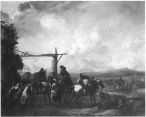 Horsemen resting at an inn