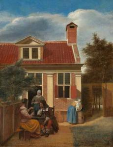 Gezelschap op een binnenplaats achter een huis