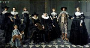 Groepsportret van Dirck Bas (1569-1637) met zijn familie