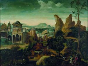 Bergachtig landschap met het feestmaal van Herodes en de droom van Jozef (Marcus 6: 21-22, Matteüs 2: 13)