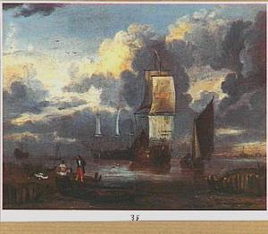 Hollandse schepen voor de kust met op de voorgrond badende mannen