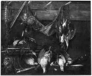 Stilleven met jachtgerei en dode vogels