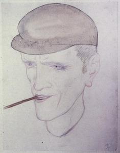 Mannenportret met pet en pijp(?)