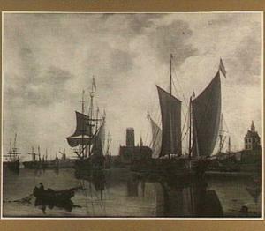Gezicht op Rotterdam met de Laurenskerk, Oude Hoofdpoort en het Kruithuis