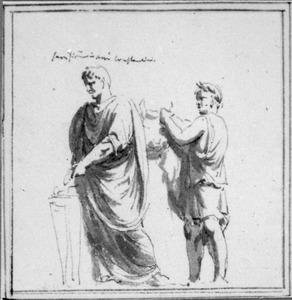 Twee mannen offeren een stier