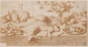 Stilleven van wild en fruit op een tafel