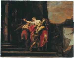 De Byzantijnse keizer Theodosius verstoot zijn vrouw Athenaïs na haar overspel bewezen te hebben