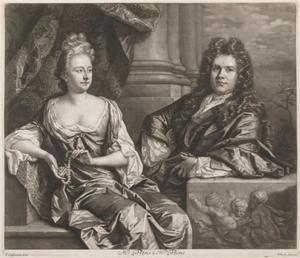 Dubbelportret van Grinling Gibbons (1648-1720) en zijn vrouw Elizabeth Gibbons