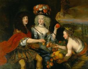 Hertog Christian Albrecht von Schleswig-Holstein-Gottorf (1641-1695) en zijn vrouw, Hertogin Friderica Amalia (1649-1704), in pastoraal landschap