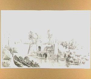 De Velperpoort te Arnhem, gezien vanaf het bolwerk op de vestinggracht