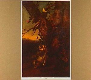 Marter met dode duif onder een boom in een landschap