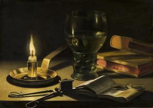 Vanitas stilleven met boeken, bril en brandende kaars