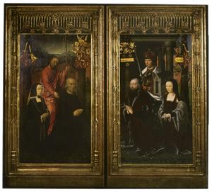 Christus met Philippe Hannock en zijn overleden vrouw Maria Collisone (links), de H. Karel de Grote met Charles de Clercq en Anne Hannock (rechts) (op de buitenzijde: Ecce Homo)