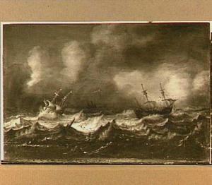 Schepen op zee in een zware storm