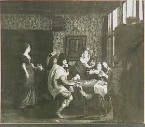Voornaam gezelschap, kaartspelend in een interieur