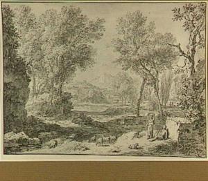 Italianiserend rivierlandschap met herder, herderin en schapen