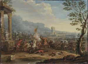 Ruitergevecht in een italianiserend landschap