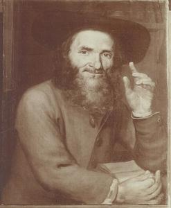 Portret van een man met hoed en een boek