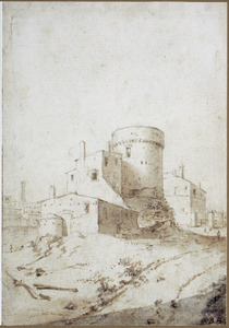 Huizen rondom een toren