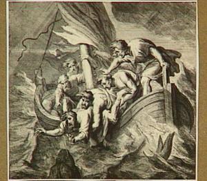 Jona  wordt door de onwillige zeelui overboord gegooid, een grote vis verzwelgt hem (Jona I:12)