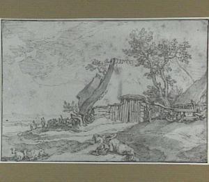Landschap met boerderij en rustende herder