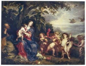 De H. Familie tijdens de rust op de vlucht naar Egypte: de Madonna met de patrijzen