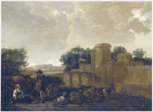 Zuidelijk landschap met rustende herders bij een kasteel