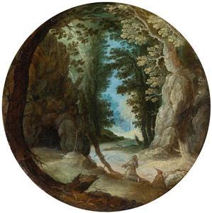 Monniken in een boslandschap
