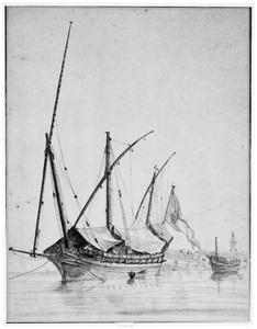 Een zeilschip bij een vuurtoren