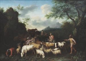 Landschap met veedrijvers men hun kudde bij een waterplaats