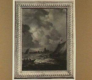 Schepen voor een stad, mogelijk Dordrecht