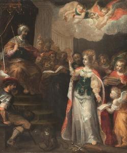 Het dispuut van de Heilige Catharina van Alexandrië met keizer Maximus en de vijftig wijzen te Alexandrië