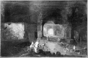 Interieur van een grot met badende nimfen